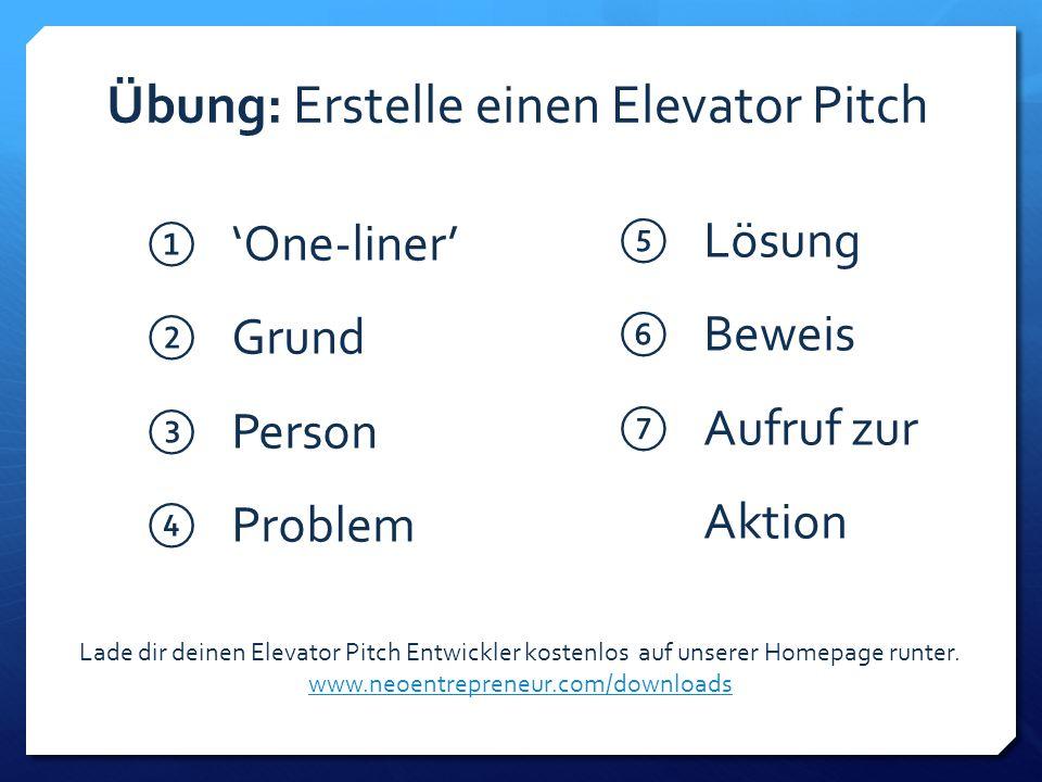 ①'①'One-liner' ②G②Grund ③P③Person ④P④Problem ⑤L⑤Lösung ⑥B⑥Beweis ⑦A⑦Aufruf zur Aktion Übung: Erstelle einen Elevator Pitch Lade dir deinen Elevator Pitch Entwickler kostenlos auf unserer Homepage runter.