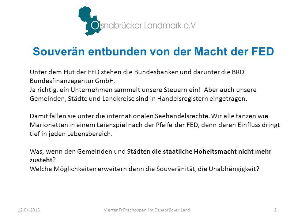 Unter dem Hut der FED stehen die Bundesbanken und darunter die BRD Bundesfinanzagentur GmbH. Ja richtig, ein Unternehmen sammelt unsere Steuern ein! A