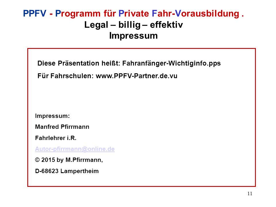 11 PPFV - Programm für Private Fahr-Vorausbildung.