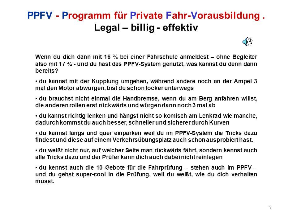 8 PPFV - Programm für Private Fahr-Vorausbildung.