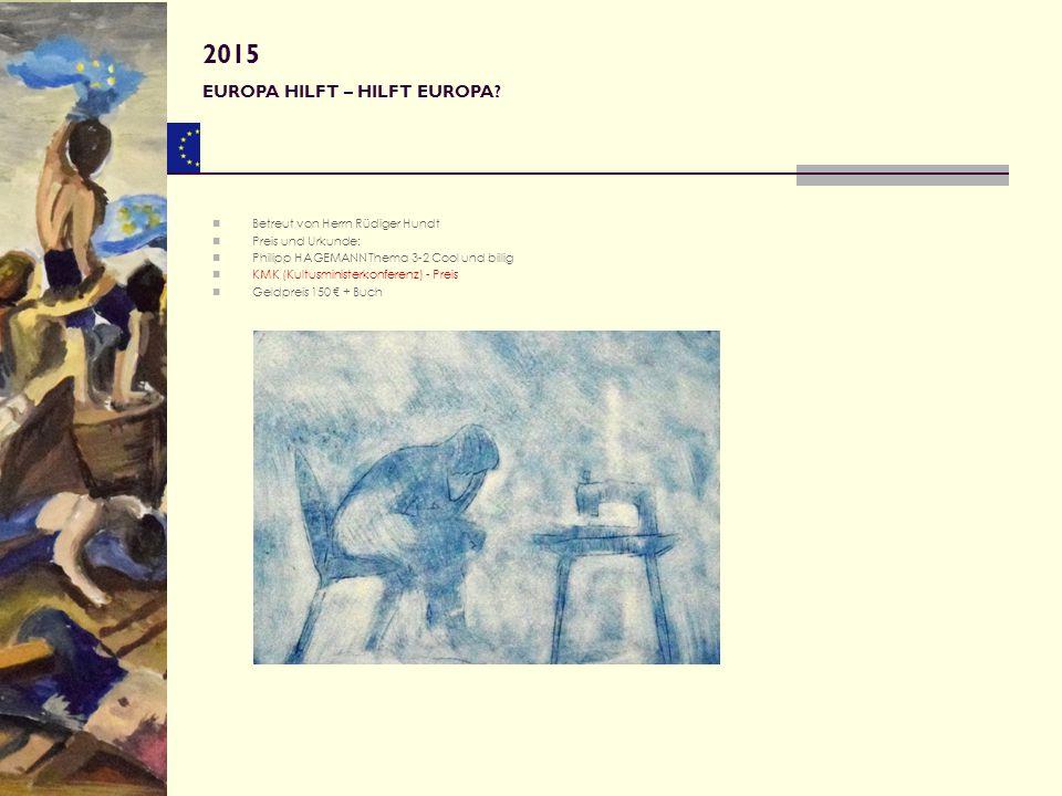 Betreut von Herrn Rüdiger Hundt Preis und Urkunde: Philipp HAGEMANN Thema 3-2 Cool und billig KMK (Kultusministerkonferenz) - Preis Geldpreis 150 € +