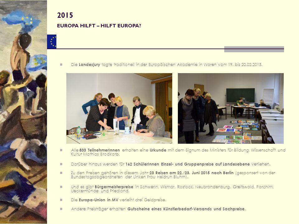 Die Landesjury tagte traditionell in der Europäischen Akademie in Waren vom 19. bis 20.02.2015. Alle 833 TeilnehmerInnen erhalten eine Urkunde mit dem