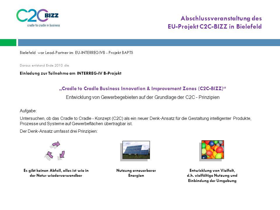 """Abschlussveranstaltung des EU-Projekt C2C-BIZZ in Bielefeld Bielefeld war Lead-Partner im EU-INTERREG IVB - Projekt BAPTS Daraus entstand Ende 2010 die Einladung zur Teilnahme am INTERREG-IV B-Projekt """"Cradle to Cradle Business Innovation & Improvement Zones (C2C-BIZZ) Entwicklung von Gewerbegebieten auf der Grundlage der C2C – Prinzipien Aufgabe: Untersuchen, ob das Cradle to Cradle – Konzept (C2C) als ein neuer Denk-Ansatz für die Gestaltung intelligenter Produkte, Prozesse und Systeme auf Gewerbeflächen übertragbar ist."""
