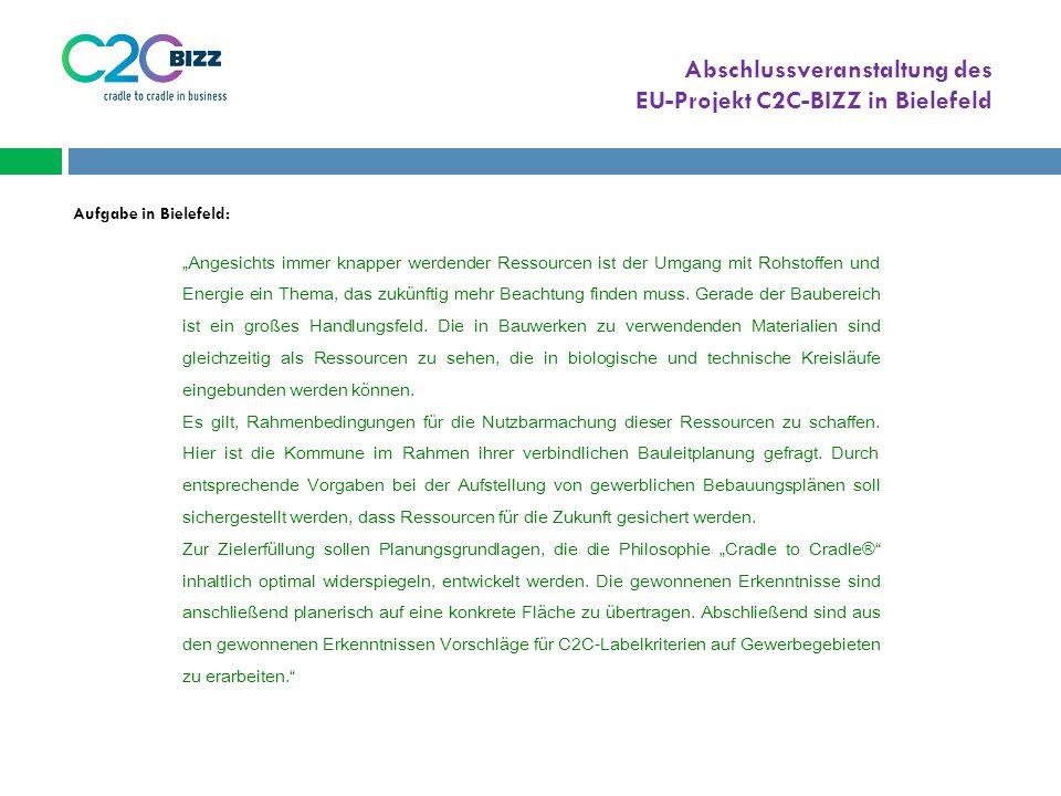 """Abschlussveranstaltung des EU-Projekt C2C-BIZZ in Bielefeld """"Angesichts immer knapper werdender Ressourcen ist der Umgang mit Rohstoffen und Energie ein Thema, das zukünftig mehr Beachtung finden muss."""