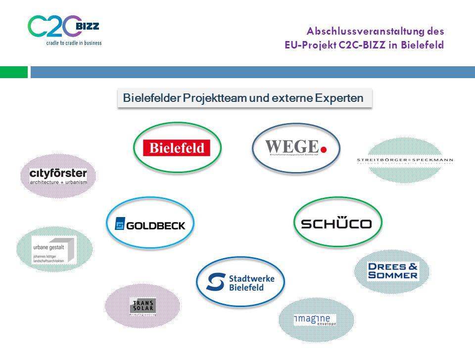 Abschlussveranstaltung des EU-Projekt C2C-BIZZ in Bielefeld Bielefelder Projektteam und externe Experten