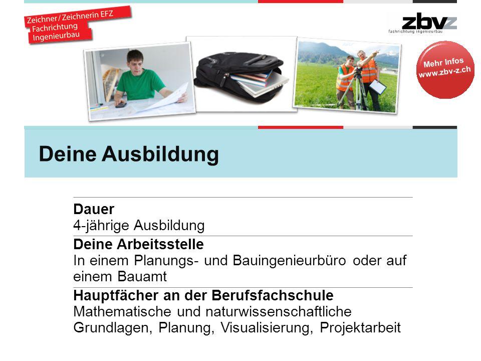 Mehr Infos www.zbv-z.ch Deine Ausbildung Während der Ausbildung Überbetriebliche Kurse zu verschiedenen Themen Berufsmaturität Die Berufsmaturitätsschule kann während der Grundausbildung besucht werden.