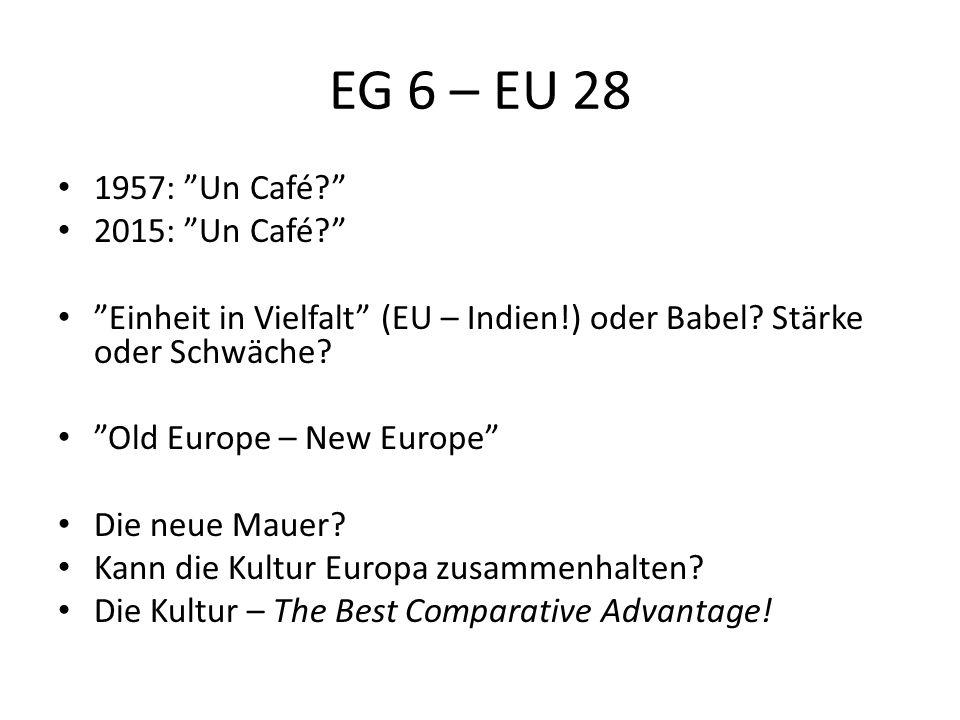 EG 6 – EU 28 1957: Un Café 2015: Un Café Einheit in Vielfalt (EU – Indien!) oder Babel.