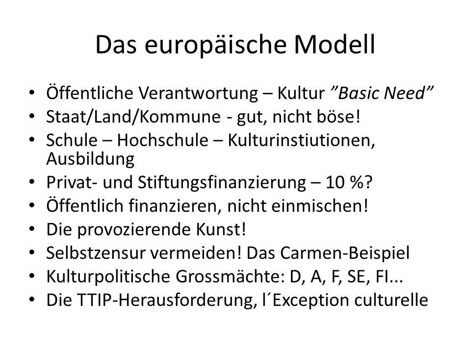 Das europäische Modell Öffentliche Verantwortung – Kultur Basic Need Staat/Land/Kommune - gut, nicht böse.