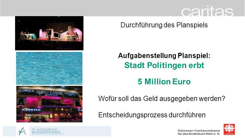 Heute entscheide ich ! Durchführung des Planspiels Aufgabenstellung Planspiel: Stadt Politingen erbt 5 Million Euro Wofür soll das Geld ausgegeben wer