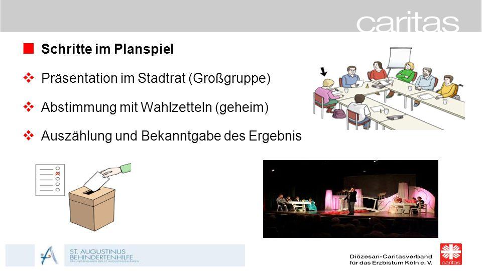 Schritte im Planspiel  Präsentation im Stadtrat (Großgruppe)  Abstimmung mit Wahlzetteln (geheim)  Auszählung und Bekanntgabe des Ergebnis