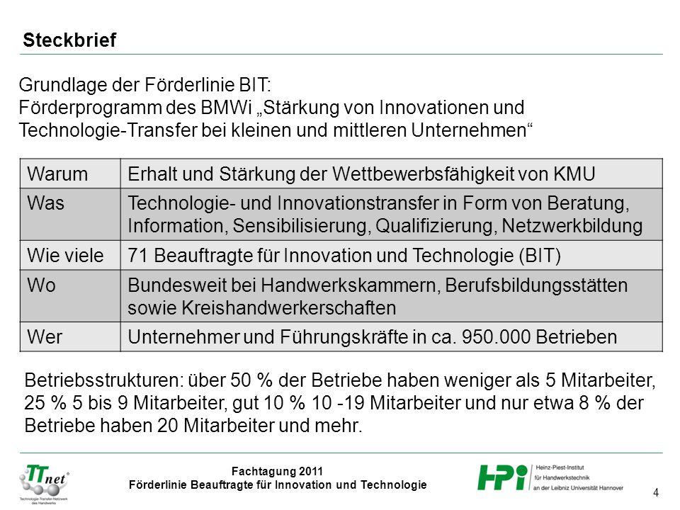 4 Fachtagung 2011 Förderlinie Beauftragte für Innovation und Technologie Steckbrief WarumErhalt und Stärkung der Wettbewerbsfähigkeit von KMU WasTechn