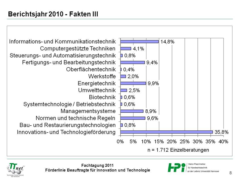 8 Fachtagung 2011 Förderlinie Beauftragte für Innovation und Technologie Berichtsjahr 2010 - Fakten III