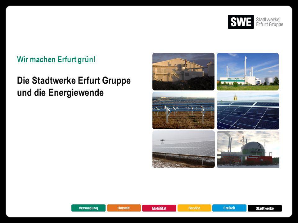 Wir machen Erfurt grün! Die Stadtwerke Erfurt Gruppe und die Energiewende VersorgungUmwelt Mobilität FreizeitService Stadtwerke