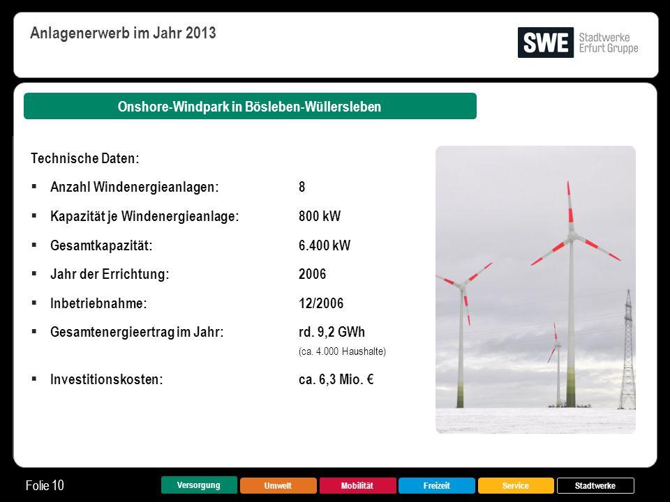 UmweltMobilitätFreizeitService Folie 10 Versorgung Stadtwerke Onshore-Windpark in Bösleben-Wüllersleben Anlagenerwerb im Jahr 2013 Technische Daten: 