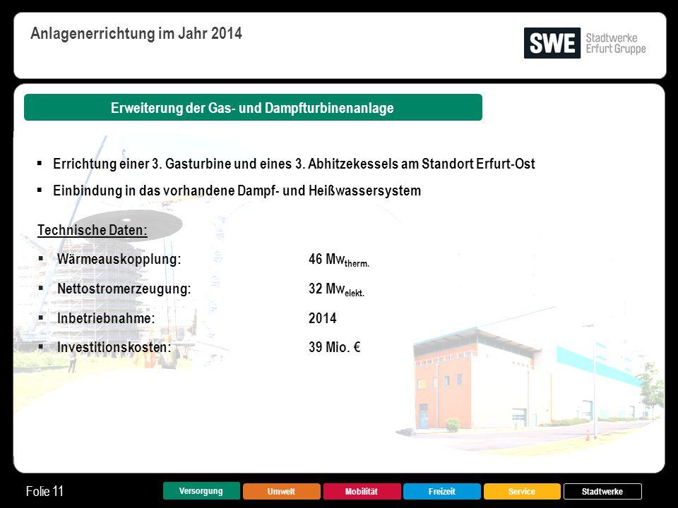 UmweltMobilitätFreizeitService Folie 11 Versorgung Stadtwerke Erweiterung der Gas- und Dampfturbinenanlage Anlagenerrichtung im Jahr 2014 Technische D