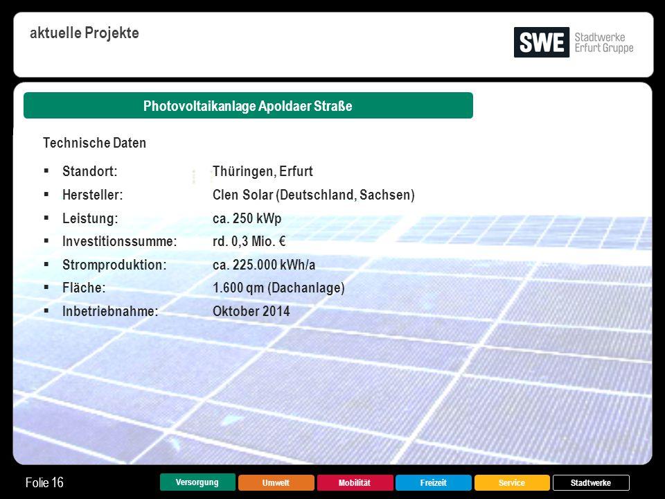 UmweltMobilitätFreizeitService Folie 16 Versorgung Stadtwerke Photovoltaikanlage Apoldaer Straße aktuelle Projekte Technische Daten  Standort:Thüring