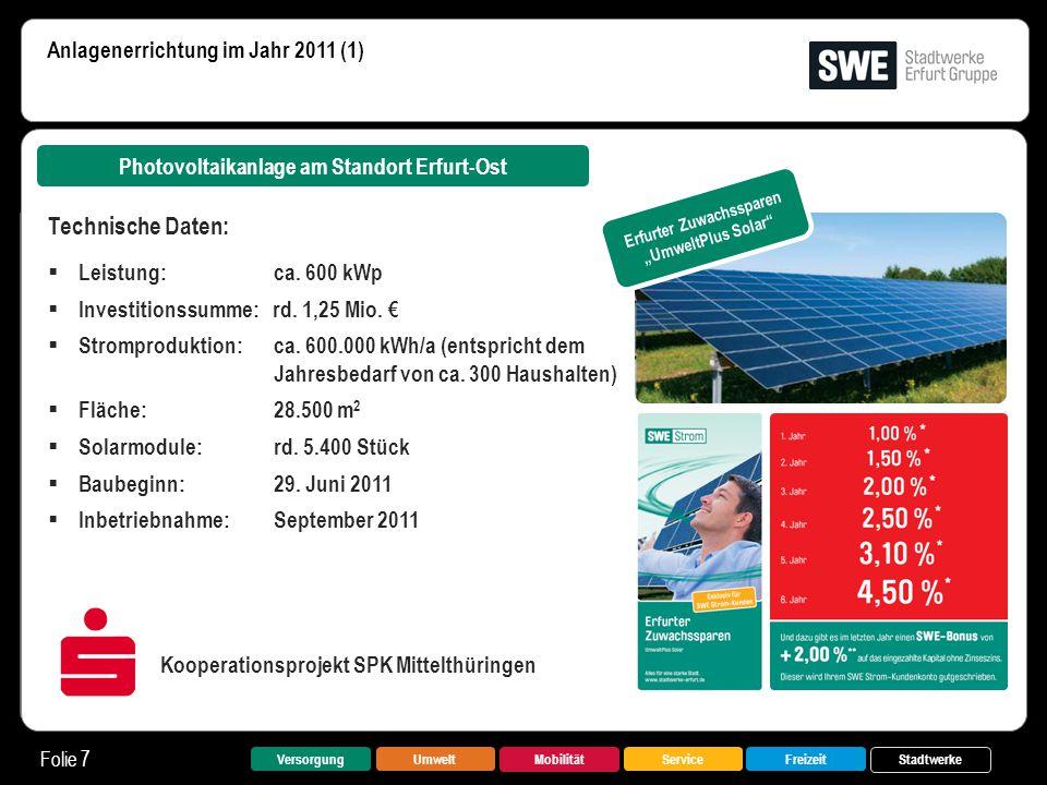 VersorgungUmwelt Mobilität FreizeitService Stadtwerke Folie 7 Anlagenerrichtung im Jahr 2011 (1) Photovoltaikanlage am Standort Erfurt-Ost Technische
