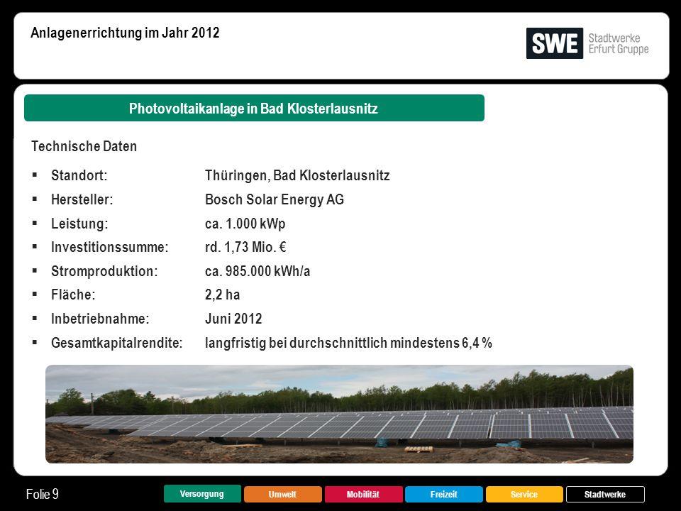 UmweltMobilitätFreizeitService Folie 9 Versorgung Stadtwerke Photovoltaikanlage in Bad Klosterlausnitz Anlagenerrichtung im Jahr 2012 Technische Daten