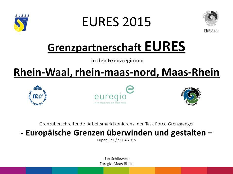 EURES 2015 Strukturelle Änderungen durch die EURES-Reform: Bisher: Euregio Maas-Rhein (EMR) selbst Hauptantragsteller.
