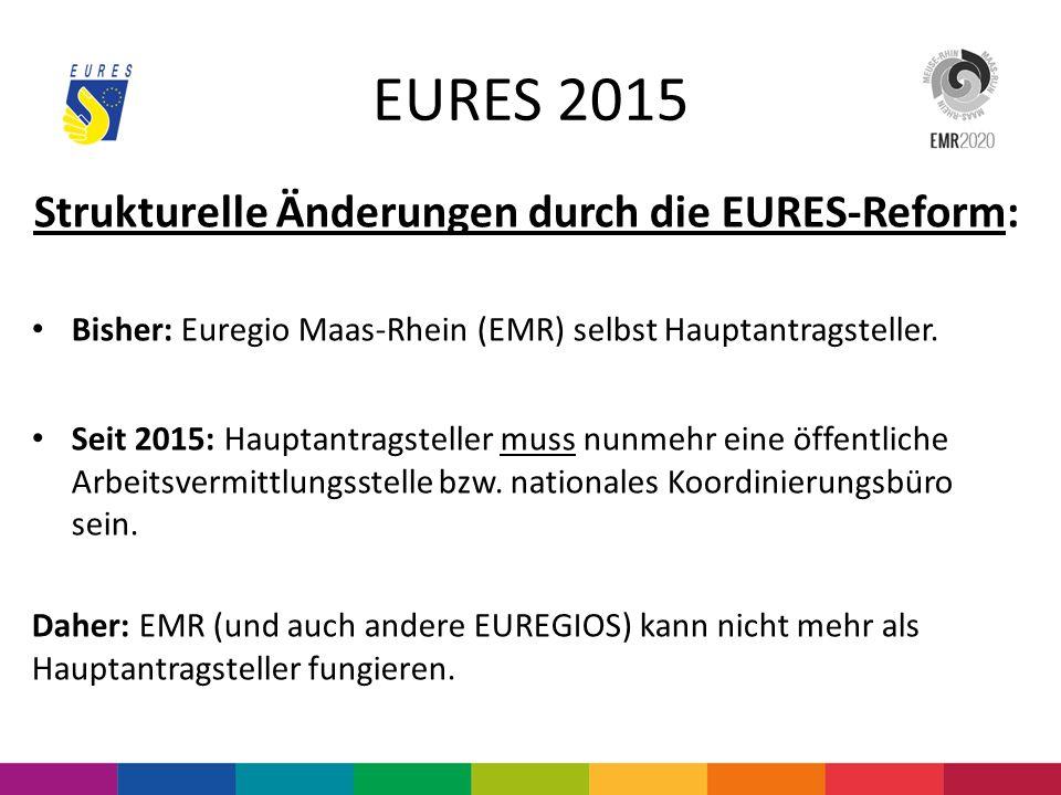 EURES 2015 Strukturelle Änderungen durch die EURES-Reform: Bisher: Euregio Maas-Rhein (EMR) selbst Hauptantragsteller. Seit 2015: Hauptantragsteller m