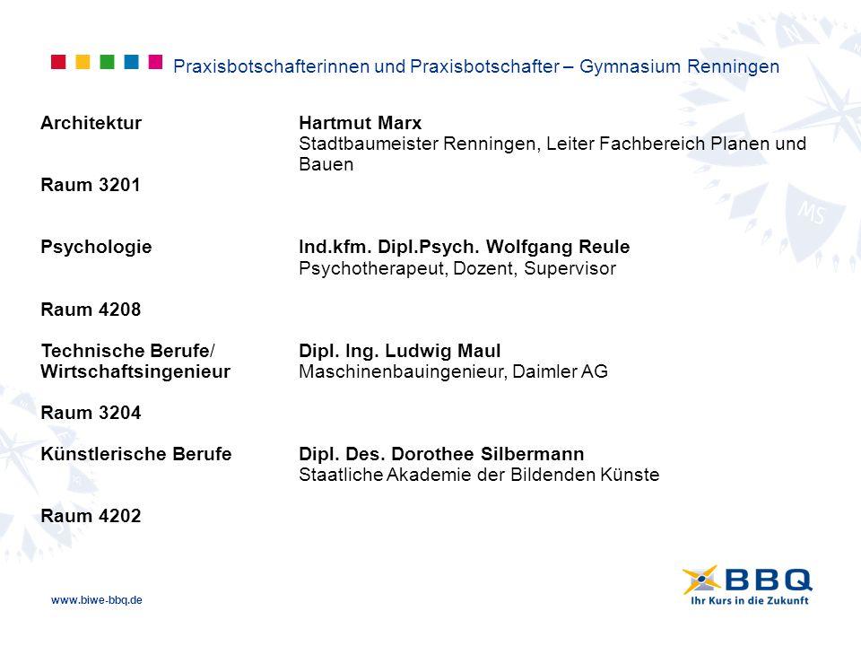 www.biwe-bbq.de Praxisbotschafterinnen und Praxisbotschafter – Gymnasium Renningen ArchitekturHartmut Marx Stadtbaumeister Renningen, Leiter Fachberei