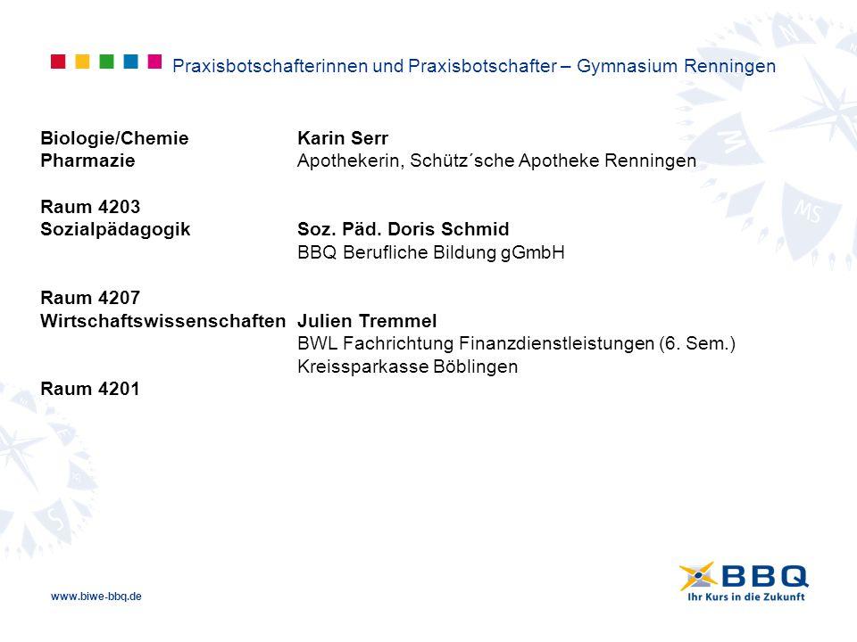 www.biwe-bbq.de Biologie/ChemieKarin Serr PharmazieApothekerin, Schütz´sche Apotheke Renningen Raum 4203 SozialpädagogikSoz. Päd. Doris Schmid BBQ Ber