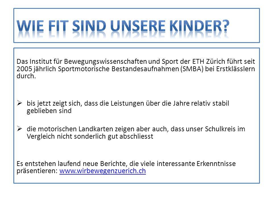 Das Institut für Bewegungswissenschaften und Sport der ETH Zürich führt seit 2005 jährlich Sportmotorische Bestandesaufnahmen (SMBA) bei Erstklässlern
