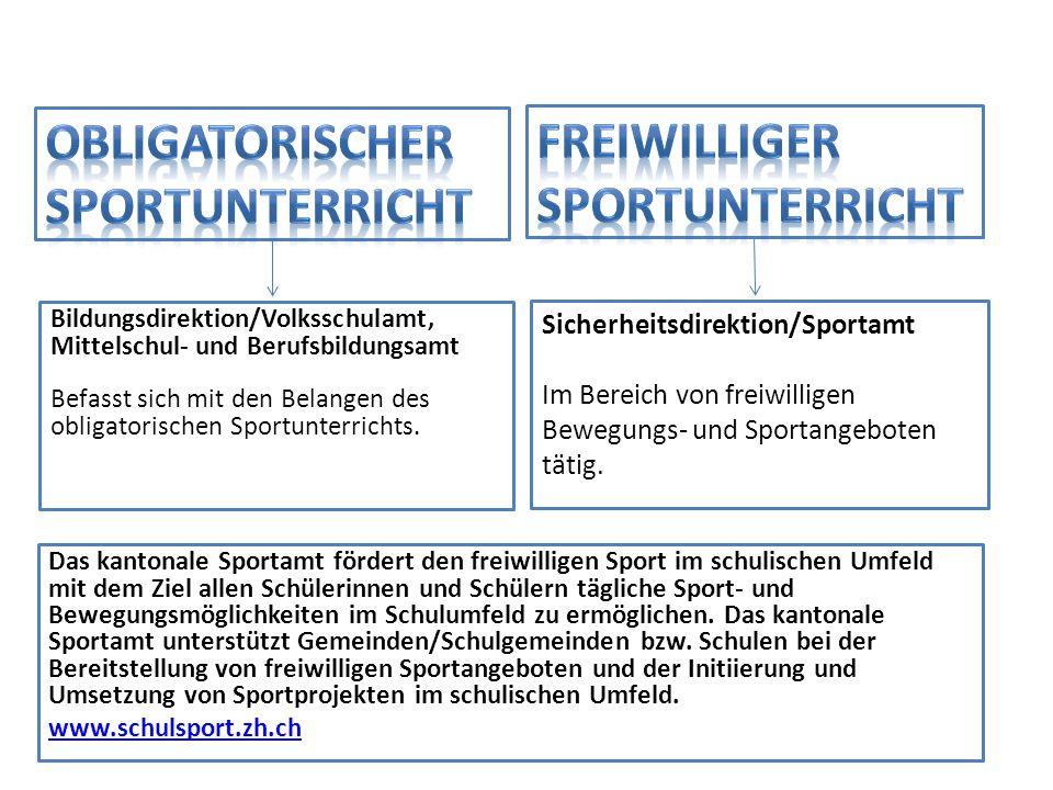 Sicherheitsdirektion/Sportamt Im Bereich von freiwilligen Bewegungs- und Sportangeboten tätig. Bildungsdirektion/Volksschulamt, Mittelschul- und Beruf
