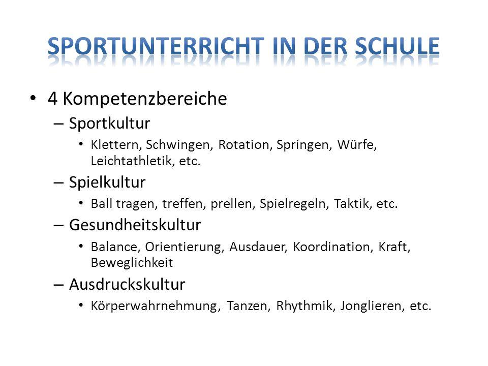 4 Kompetenzbereiche – Sportkultur Klettern, Schwingen, Rotation, Springen, Würfe, Leichtathletik, etc. – Spielkultur Ball tragen, treffen, prellen, Sp