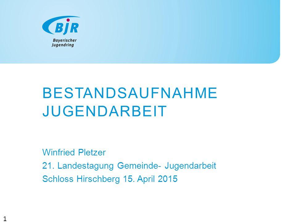 BESTANDSAUFNAHME JUGENDARBEIT Winfried Pletzer 21. Landestagung Gemeinde- Jugendarbeit Schloss Hirschberg 15. April 2015 1
