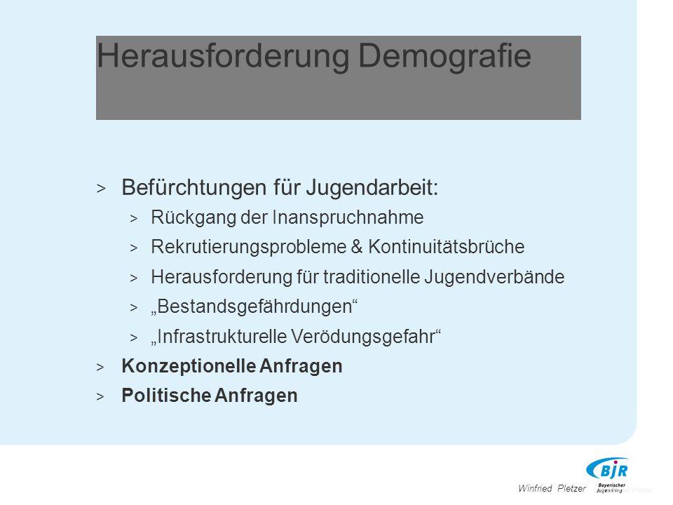 Winfried Pletzer Herausforderung Demografie > Befürchtungen für Jugendarbeit: > Rückgang der Inanspruchnahme > Rekrutierungsprobleme & Kontinuitätsbrü