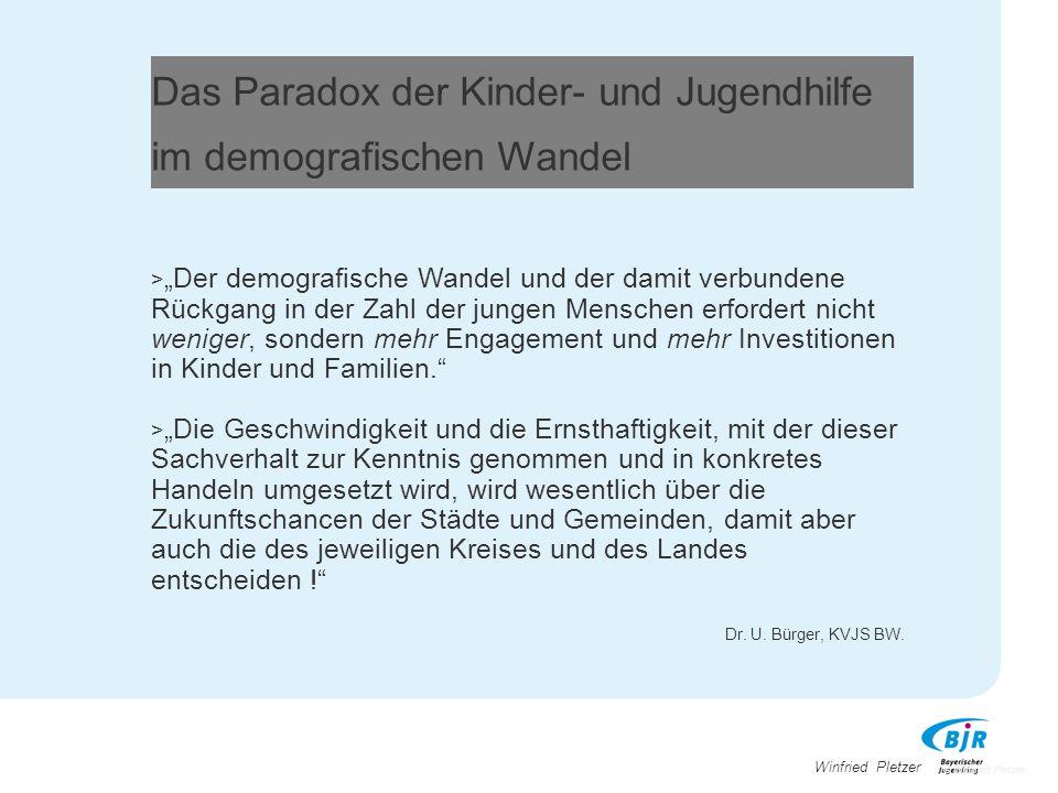 """Winfried Pletzer Das Paradox der Kinder- und Jugendhilfe im demografischen Wandel > """"Der demografische Wandel und der damit verbundene Rückgang in der"""