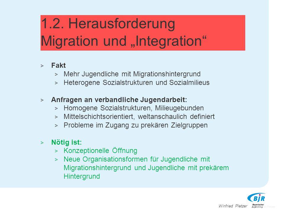 """Winfried Pletzer 1.2. Herausforderung Migration und """"Integration"""" > Fakt > Mehr Jugendliche mit Migrationshintergrund > Heterogene Sozialstrukturen un"""