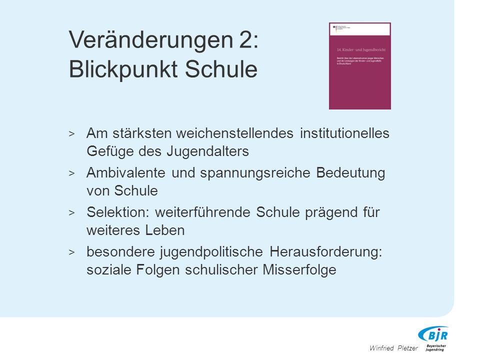 Winfried Pletzer Veränderungen 2: Blickpunkt Schule > Am stärksten weichenstellendes institutionelles Gefüge des Jugendalters > Ambivalente und spannu