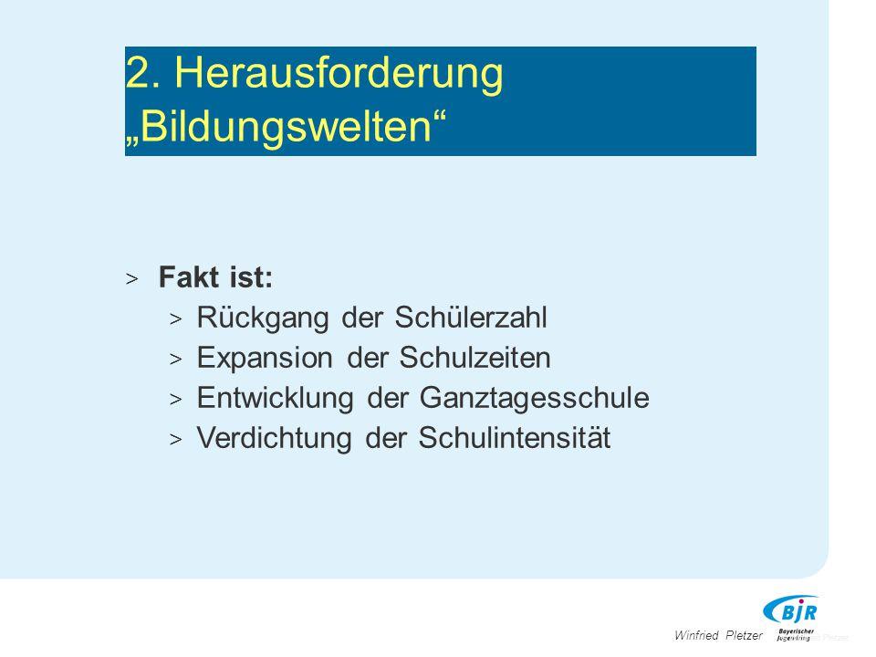 """Winfried Pletzer 2. Herausforderung """"Bildungswelten"""" > Fakt ist: > Rückgang der Schülerzahl > Expansion der Schulzeiten > Entwicklung der Ganztagessch"""