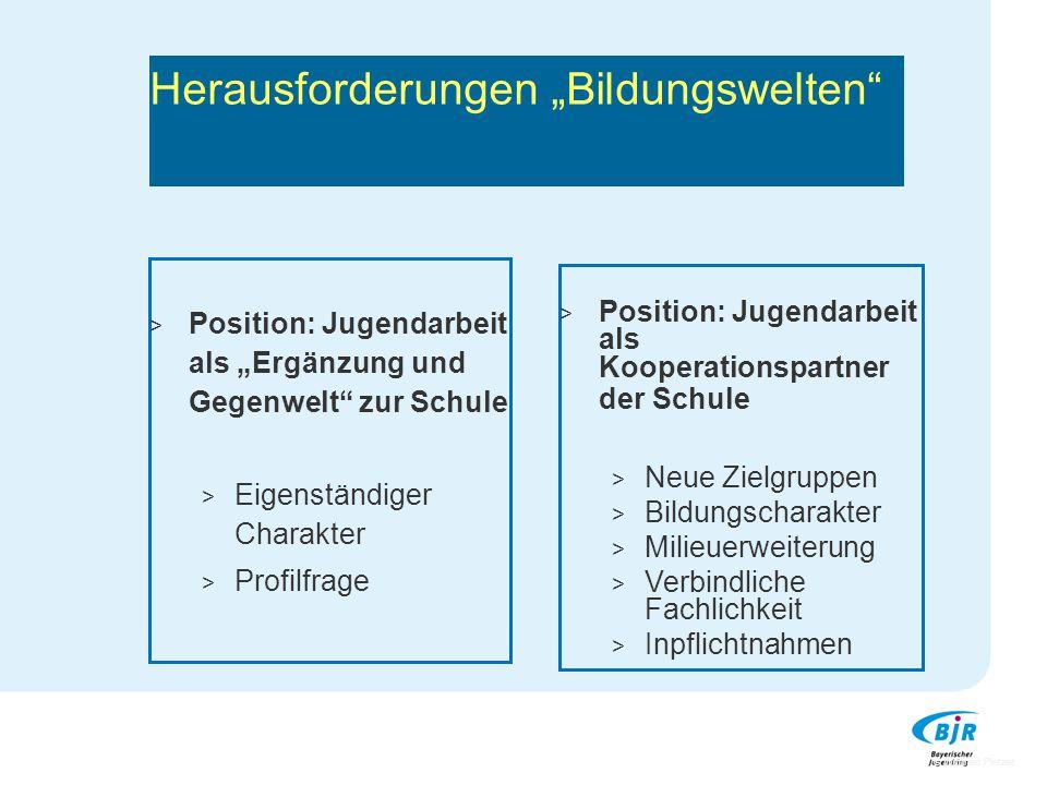"""Herausforderungen """"Bildungswelten"""" > Position: Jugendarbeit als """"Ergänzung und Gegenwelt"""" zur Schule > Eigenständiger Charakter > Profilfrage > Positi"""