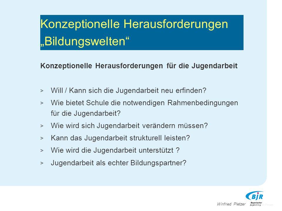 """Winfried Pletzer Konzeptionelle Herausforderungen """"Bildungswelten"""" Konzeptionelle Herausforderungen für die Jugendarbeit > Will / Kann sich die Jugend"""
