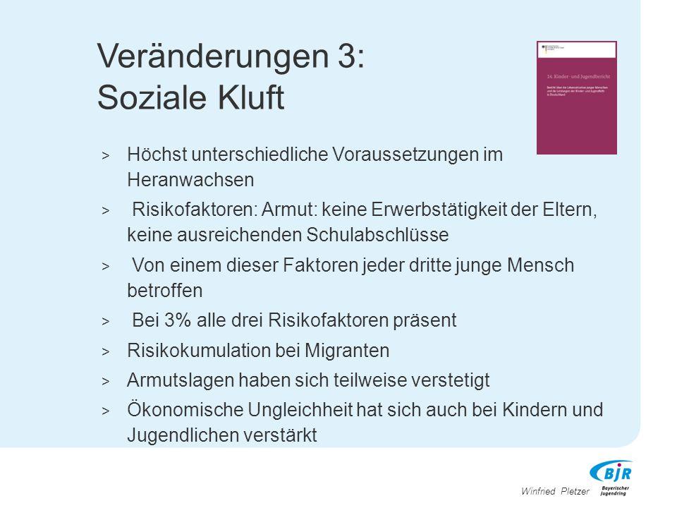 Winfried Pletzer Veränderungen 3: Soziale Kluft > Höchst unterschiedliche Voraussetzungen im Heranwachsen > Risikofaktoren: Armut: keine Erwerbstätigk