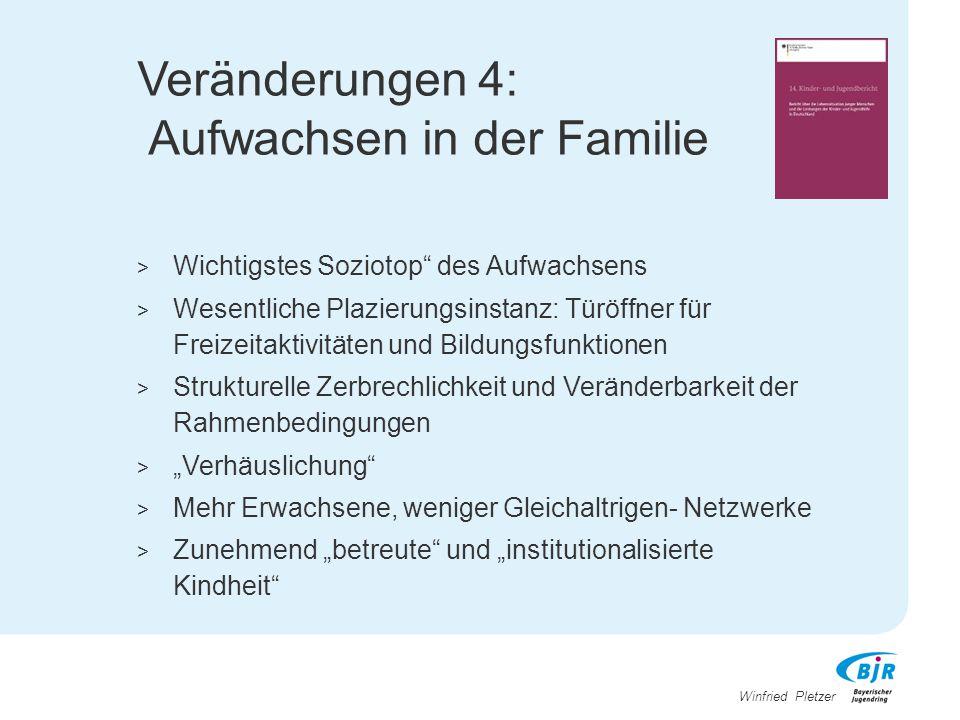 """Winfried Pletzer Veränderungen 4: Aufwachsen in der Familie > Wichtigstes Soziotop"""" des Aufwachsens > Wesentliche Plazierungsinstanz: Türöffner für Fr"""