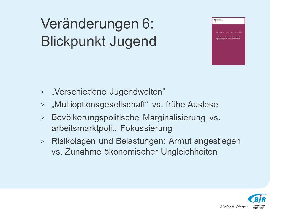 "Winfried Pletzer Veränderungen 6: Blickpunkt Jugend > ""Verschiedene Jugendwelten"" > ""Multioptionsgesellschaft"" vs. frühe Auslese > Bevölkerungspolitis"