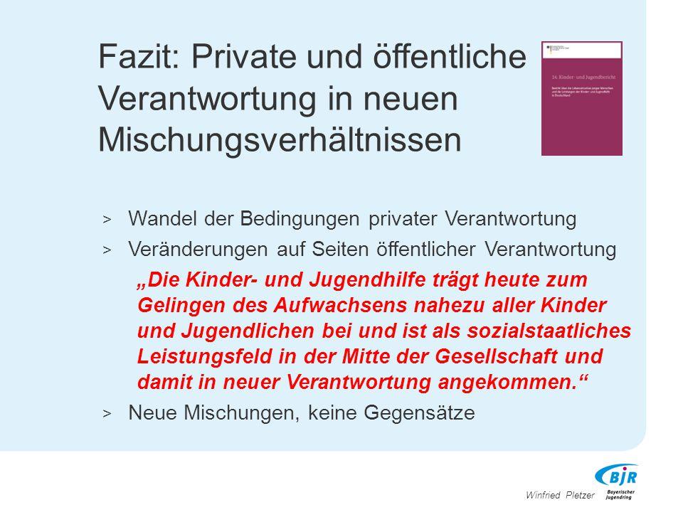 Winfried Pletzer Fazit: Private und öffentliche Verantwortung in neuen Mischungsverhältnissen > Wandel der Bedingungen privater Verantwortung > Veränd