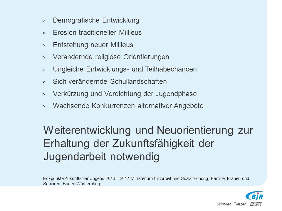 Winfried Pletzer Weiterentwicklung und Neuorientierung zur Erhaltung der Zukunftsfähigkeit der Jugendarbeit notwendig Eckpunkte Zukunftsplan Jugend 20
