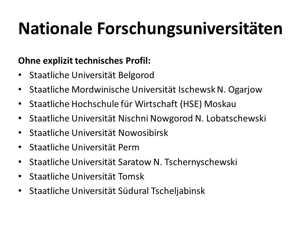 Nationale Forschungsuniversitäten Ohne explizit technisches Profil: Staatliche Universität Belgorod Staatliche Mordwinische Universität Ischewsk N. Og