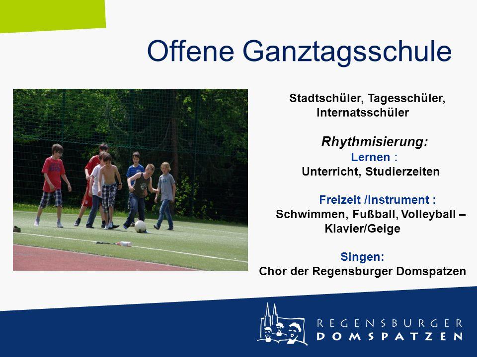 Offene Ganztagsschule Stadtschüler, Tagesschüler, Internatsschüler Rhythmisierung: Lernen : Unterricht, Studierzeiten Freizeit /Instrument : Schwimmen