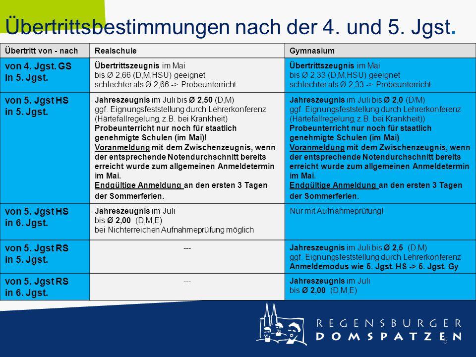 Übertrittsbestimmungen nach der 4. und 5. Jgst. Übertritt von - nachRealschuleGymnasium von 4. Jgst. GS In 5. Jgst. Übertrittszeugnis im Mai bis Ø 2,6