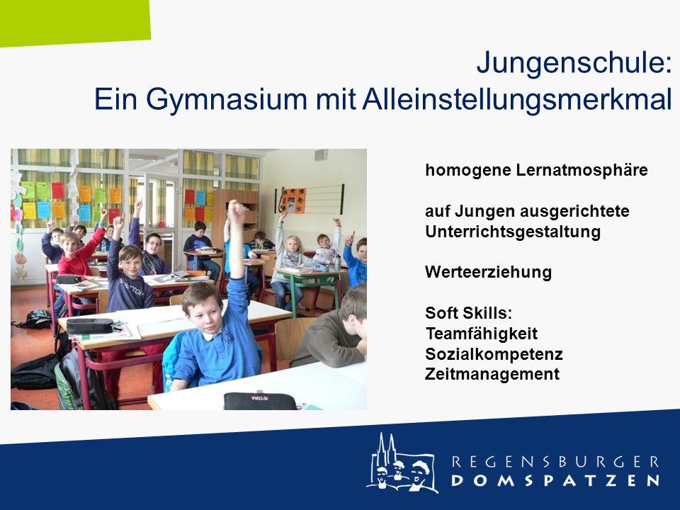 Jungenschule: Ein Gymnasium mit Alleinstellungsmerkmal homogene Lernatmosphäre auf Jungen ausgerichtete Unterrichtsgestaltung Werteerziehung Soft Skil