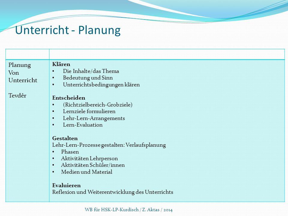 Unterricht - Planung Planung Von Unterricht Tevdêr Klären Die Inhalte/das Thema Bedeutung und Sinn Unterrichtsbedingungen klären Entscheiden (Richtzie