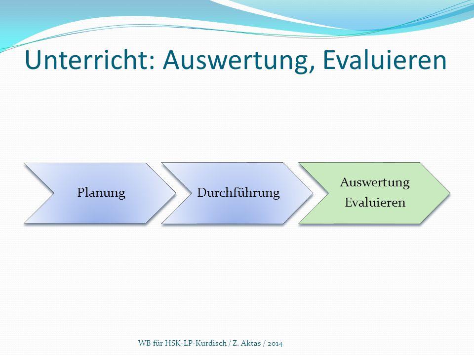 Unterricht: Auswertung, Evaluieren PlanungDurchführung Auswertung Evaluieren WB für HSK-LP-Kurdisch / Z. Aktas / 2014