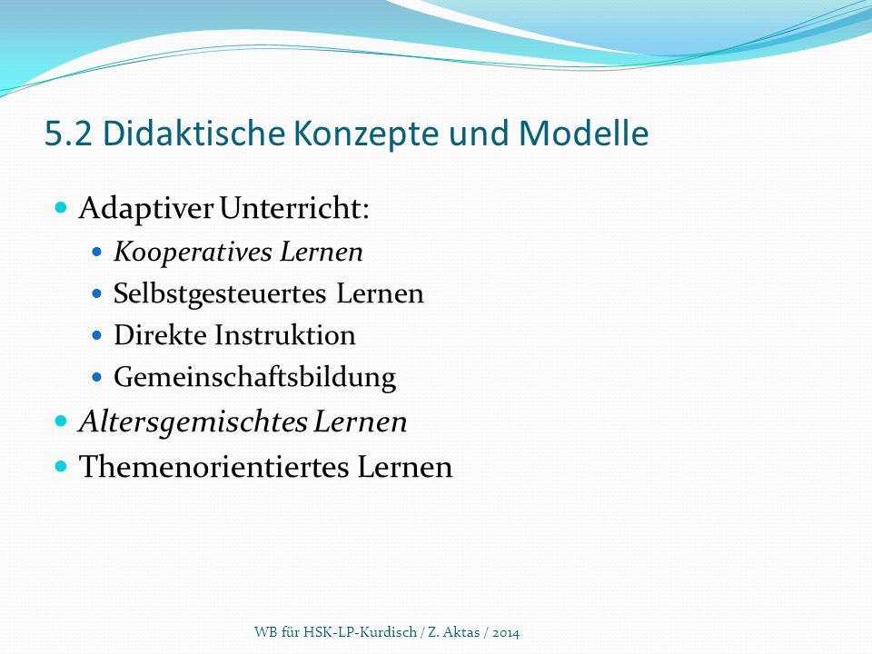 5.2 Didaktische Konzepte und Modelle Adaptiver Unterricht: Kooperatives Lernen Selbstgesteuertes Lernen Direkte Instruktion Gemeinschaftsbildung Alter