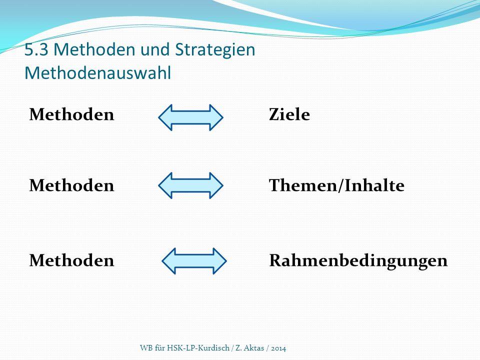 5.3 Methoden und Strategien Methodenauswahl Methoden Ziele MethodenThemen/Inhalte Methoden Rahmenbedingungen WB für HSK-LP-Kurdisch / Z. Aktas / 2014